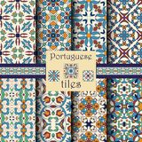 Vector seamless texture collection. Set of beautiful colored patterns. Portuguese tiles, Azulejo, Moroccan ornaments Royalty Free Stock Photos