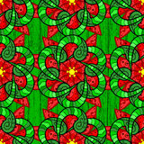 Vector seamless texture. Colorful doodles on green background. Mandala doodle style. Vector illustration. Seamless pattern Royalty Free Stock Photos