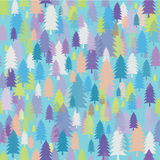 Vector seamless texture with colorful fir-trees Royalty Free Stock Photography