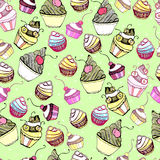 Vector seamless texture with cute Cake Stock Photography