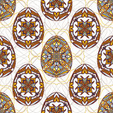 Vector seamless texture. Easter eggs with oriental ornaments. Pattern with decorative elements to Easter Stock Image