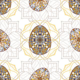 Vector seamless texture. Easter eggs with oriental ornaments. Pattern with decorative elements to Easter Stock Images