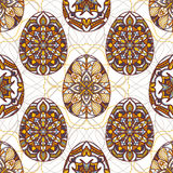 Vector seamless texture. Easter eggs with oriental ornaments. Pattern with decorative elements to Easter Royalty Free Stock Photo