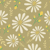 Vector seamless texture. Embroidery floral design with camomiles. Decorative pastel flowers pattern Royalty Free Stock Photo