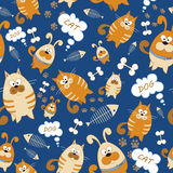 Vector seamless texture. Endless background with cats and dogs. Vector background for use in design. Use for wallpaper, fabrics, p Royalty Free Stock Images