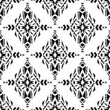 Vector seamless texture. Ethnic black and white pattern Stock Photography