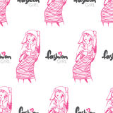 Vector seamless texture with fashion girls. Stock Images