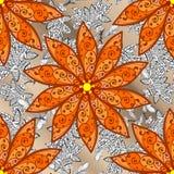 Vector seamless texture. Five orange petal flower. Doodle style. Vector illustration. Seamless pattern Stock Photography