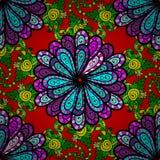 Vector seamless texture. Five petal lilac flower. Mandala doodle style. Vector illustration. Seamless pattern Stock Image