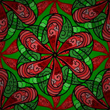 Vector seamless texture. Five red petal flower. Doodle style. Vector illustration. Seamless pattern Royalty Free Stock Images