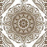 Vector seamless texture with floral mandala in indian style. Mehndi ornamental background Stock Image