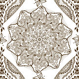Vector seamless texture with floral mandala in indian style. Mehndi ornamental background Royalty Free Stock Photo