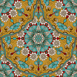 Vector seamless texture with floral mandala in indian style. Mehndi ornamental background Stock Photography