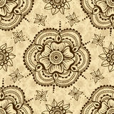 Vector seamless texture with floral ornament in indian style. Mehndi ornamental flowers. Hand drawn ethnic pattern. Floral elements for henna design Royalty Free Stock Photo