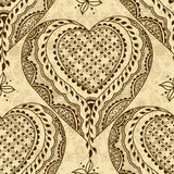 Vector seamless texture with floral ornament in indian style. Mehndi ornamental hearts. Hand drawn ethnic pattern. Hearts elements for henna design. Valentines Royalty Free Stock Photo