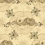 Vector seamless texture with floral ornament in indian style. Mehndi ornamental pattern. Hand drawn ethnic design. Henna tattoo theme Royalty Free Stock Photos