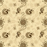 Vector seamless texture with floral ornament in indian style. Mehndi ornamental pattern. Hand drawn ethnic design. Henna tattoo theme Stock Image