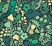 Vector seamless texture with flowers, birds and butterflies. Aut Stock Images