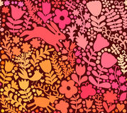 Vector seamless texture with flowers, birds and butterflies. Aut Royalty Free Stock Photography