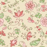 Vector Seamless texture with Flowers and Leaves. Royalty Free Stock Photo