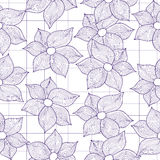 Vector seamless texture of flowers stylized as drawings Stock Images