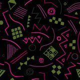 Vector seamless texture with geometrical shapes. Endless black background. Vector backdrop. Stock Photo