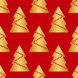 Vector seamless texture, gold Christmas trees with red stars,  on red background Royalty Free Stock Photos
