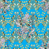 Vector seamless texture. Vector texture with golden floral doodles flowers on blue background with shadows Stock Photography