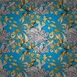 Vector seamless texture. Vector texture with golden floral doodles flowers on blue background with shadows Stock Images