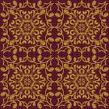Vector seamless texture. Golden vintage pattern. Arabesque and floral ornaments Stock Photo