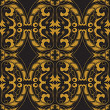 Vector seamless texture. Golden vintage pattern on black background. Arabesque and floral ornaments Royalty Free Stock Images