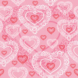Vector seamless texture with hearts Stock Image