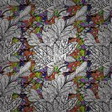 Vector seamless texture. Vector Illustration of pattern with colorful leaves Royalty Free Stock Image