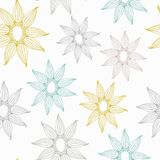 Vector seamless texture with lace. Pattern with sunflower. Compound seamless spring pattern. Elegance floral pattern.Endless white  background. Vector backdrop Royalty Free Stock Photos
