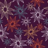 Vector seamless texture with lacy flowers. Endless background. Use for wallpaper, pattern fills, web page background Royalty Free Stock Photography