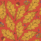 Vector seamless texture with leaves and flowers on red background. Hand drawn graphic illustration, with berries, acorns with yell Royalty Free Stock Photos