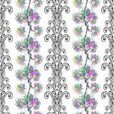 Vector seamless texture. With light colorful flowers on white background Royalty Free Stock Photography