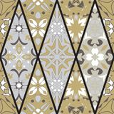 Vector seamless texture. Mosaic patchwork ornament with rhombus elements. Portuguese azulejos decorative pattern Royalty Free Stock Image