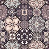 Vector seamless texture. Mosaic patchwork ornament with rhombus tiles. Portuguese azulejos decorative pattern Royalty Free Stock Photo