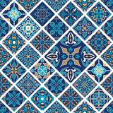 Vector seamless texture. Mosaic patchwork ornament with rhombus tiles. Portuguese azulejos decorative pattern stock illustration