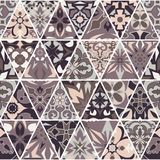 Vector seamless texture. Mosaic patchwork ornament with triangle elements. Portuguese azulejos decorative pattern. Ornamental square design in oriental style stock illustration