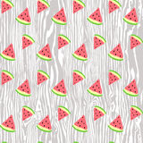 Vector seamless texture painted handmade watermelon and wood. Vector seamless pattern. Hand painted handmade. painted handmade watermelon and wood Stock Photography
