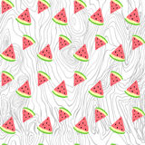Vector seamless texture painted handmade watermelon and wood. Vector seamless pattern. Hand painted handmade. painted handmade watermelon and wood Royalty Free Stock Photography