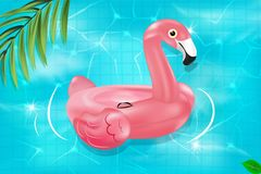 Vector realistic 3d pink flamingo and yellow rubber duck swimming circle.  Vector seamless texture. Vector seamless texture. Seamless pattern with summer pool Stock Images