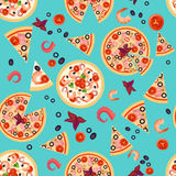 Vector Seamless texture of Pizza Slices with various ingredients. Royalty Free Stock Images