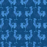 Vector seamless texture with roosters pattern. Decor for fabric design Royalty Free Stock Photos