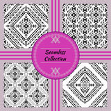 Vector seamless texture. Set of black and white tribal geometric patterns Royalty Free Stock Photo