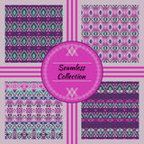 Vector seamless texture. Set of ethnic tribal geometric patterns with swatches inside Stock Images