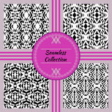 Vector seamless texture. Set of tribal black and white decorative patterns for design. Aztec ornamental style Royalty Free Stock Photography