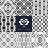 Vector seamless texture. Set of tribal black and white decorative patterns for design. Aztec ornamental style Stock Image